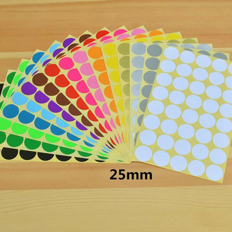 Hot Sale Candy color Diameter 25mm Coloured Dot Stickers Round Sticky Adhesive Spot Circles Paper Labels Free shipping(China (Mainland))