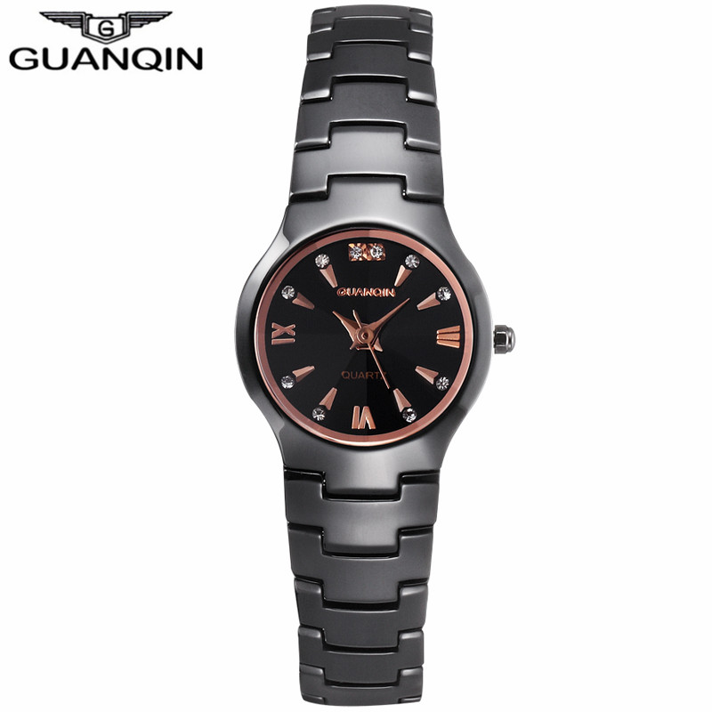 GUANQIN G2003 Fashion Ceramic Watchband Quartz-Watch Crystal Dive Waterproof 100M Relogio Feminino<br><br>Aliexpress