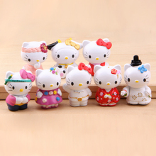 8pcs Kawaii Hello Kitty Fairy Garden Decor Miniatures Jardin Terrarium Figurines Bonsai Gnomes Home Accessories Cupcake Toppers