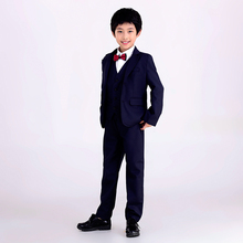 2017 children wedding suit for boys 5-14 years boys long sleeve Navy Blue jacket+vest+shirt+pants boys suits for weddings E104