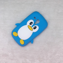 for Samsung Galaxy S3 Mini i8190 Bags Hot Luxury 3D Cute Cartoon Penguin Duck Soft Silicon Back Cover Phone Case