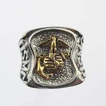 US Marines Insignia Ring Silver Colored Marine Corps Veteran Ring  Gold plating Military Collectibles ring for women