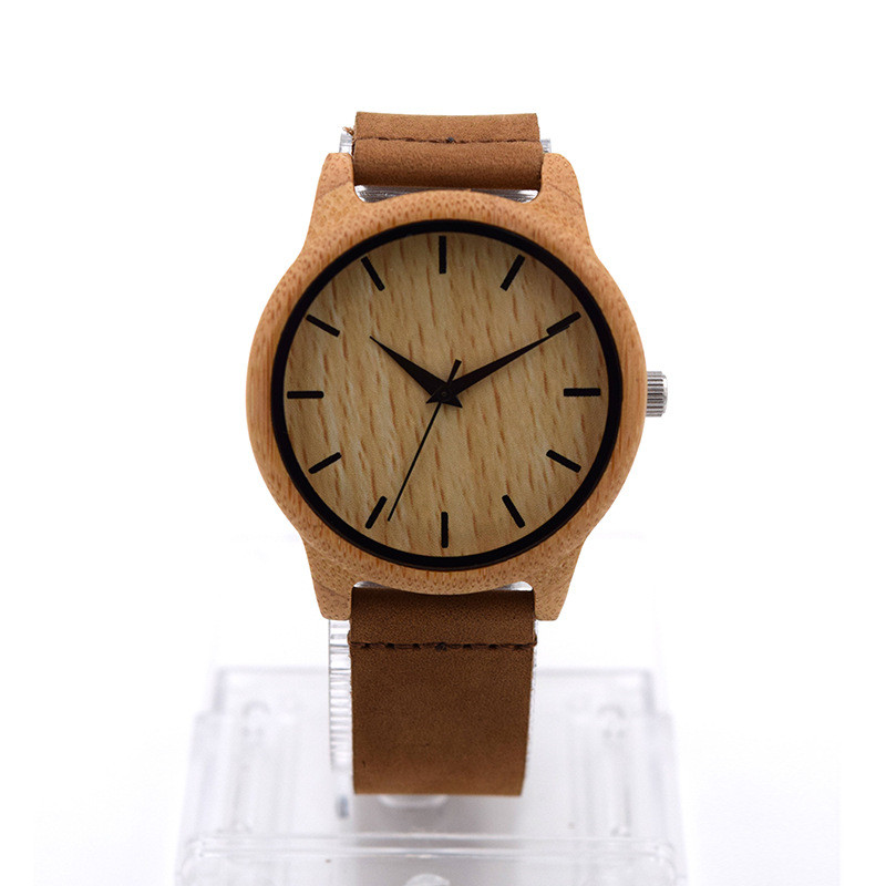 Fashion Casual Bamboo watch Genuine Leather Band Wood Grain Dial Vintage Men Clock Men Top Luxury Relogio Masculino Sandalwood<br><br>Aliexpress