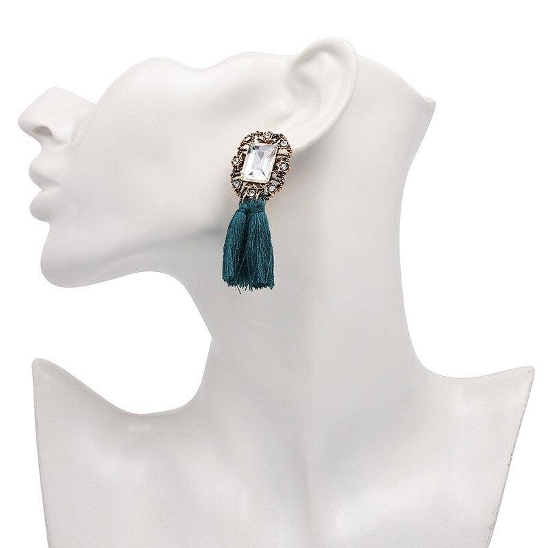 16 Colors, Crystal Square Tassel Stud Fringe Earrings