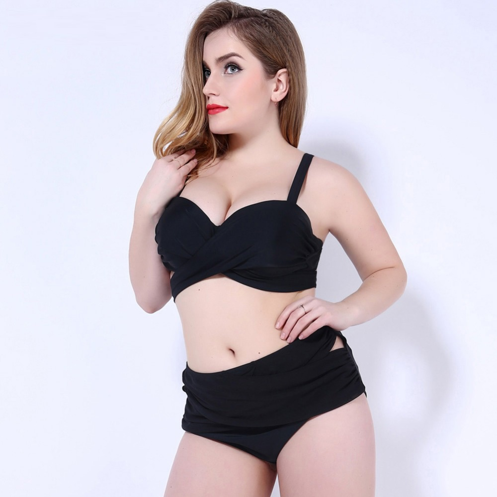 Large size bikini set rounding high waist 2017 Halter Women swimsuit push up pin up and lacing swimwear 2XL-5XL<br><br>Aliexpress