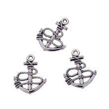 Wholesale Charms 10pcs Vintage Tibetan Silver Nautical Ferry Anchors Charm Pendant Jewelry Findings Alloy Gift DIY 23X19mm MS042