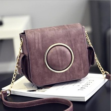2017 Women Split Leather Shoulder Chain Fashion Metal Camera Bag Big Metal Ring Side Messenger Bags Crossbody High Quality Gift