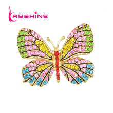 Kayshine Jewelry Luxury Brooch Gold-Color with Colorful Rhinestone Lovely Butterfly Brooches for Lady Accessories(China)