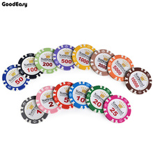 Professional Clay Poker Chips Set with High Quality Each denomination for one pcs Colorful Chips(China)