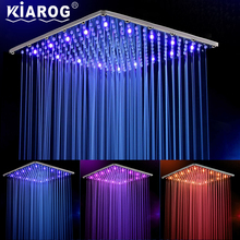 16 Inch 40cm * 40cm Water Powered Rain Led Shower Head Without Shower Arm.Bathroom 3 Colors Led Showerhead. Chuveiro Led.(China)