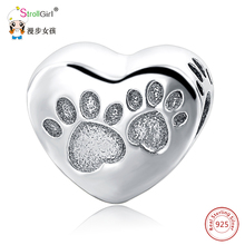 Fit Authentic Animal Charms Fit Pandora Charm bracelets Fashion DIY 2018 New Arrival Hot Selling Sterling Silver Dog Paw Beads(China)