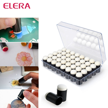 ELERA 40pcs/lot Sponge Finger Daubers Foam With Box Finger Painting Craft Set Fingerpaint Drawing Sponge Foam Finger Chalk Ink