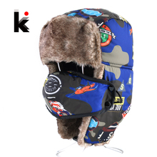 Bomber Hats For Boys And Girls Winter Kids Outdoor Faux Fur Thick Caps With Ear Flaps Warm Children Camo Trapper Hat Masks cap(China)