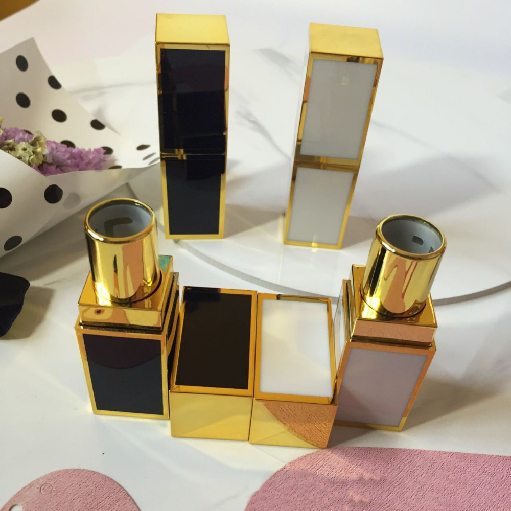 freeshipping 12.1mm 10/20/5opcs/lot bright white/black high-grade lipstick tube,cuboid empty Lip balm container with golden side<br>