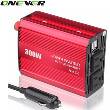 Onever 12V DC to AC 110V Car Auto Power Pure Sine Inverter Converter Adapter 300W USB Car Charger 600W Peak Power US Plug