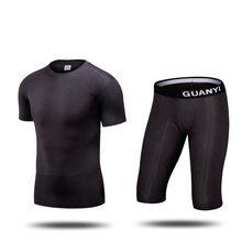 1 sets Men short sleeve jersey and shorts Gym Cycling Running sets football soccer kits  adult M-3XL  Tights