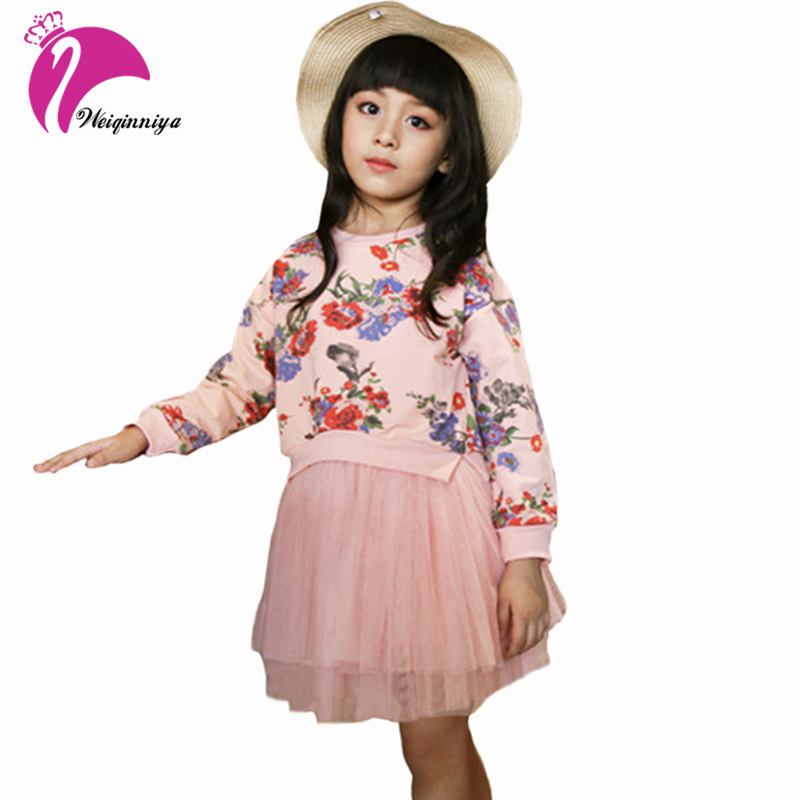 Baby Girl Cotton Clothing Sets Spring Autumn Print Shirt+Lace Skirts 2 Pieces Suit Children Kids Casual Flower Pullover Clothes <br>