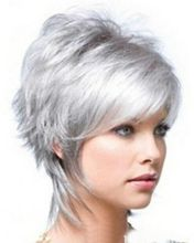 Hot heat resistant free shipping>>>>>>>>>> 2015 Fashion wig New Charm Women's Short Silver Gray Full wig/wigs