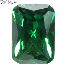 KiWarm New Chic Unheated Dazzling 9.08CT Artificial Green Sapphire 10X14MM Diamond Emerald Loose Gemstone DIY Jewelry Pendant(China)