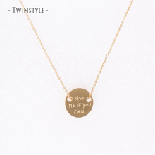 S925 Sterling Silver Necklace Round Gold Silver Coin Pendant Necklace Letters Fine Jewelry Adjustable Chain Collares N16313