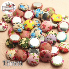 50pcs mix color Flatback flower Fabric Covered round Buttons Home Garden Crafts Cabochon Scrapbooking DIY 15mm