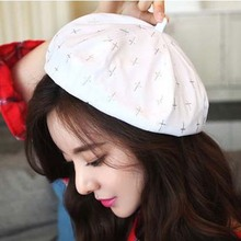 2017 New Beret Cap Hat Woman Retro French Painter Cross Print Equipped Elegant Ladies Black Hat Top Quality Artistic Pink Hats