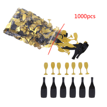 1000pcs/pack Bling Confetti Christmas Birthday Black and Gold Bottles Glasses Table Confetti Wedding party Decoration E5M1(China)