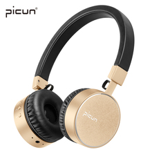 Picun P10 Gold Headphones Bluetooth Headset Wire HiFi Super Bass Headphones For Iphone Xiaomi Sony PC LeEco Asus Sumsung Apple(China)
