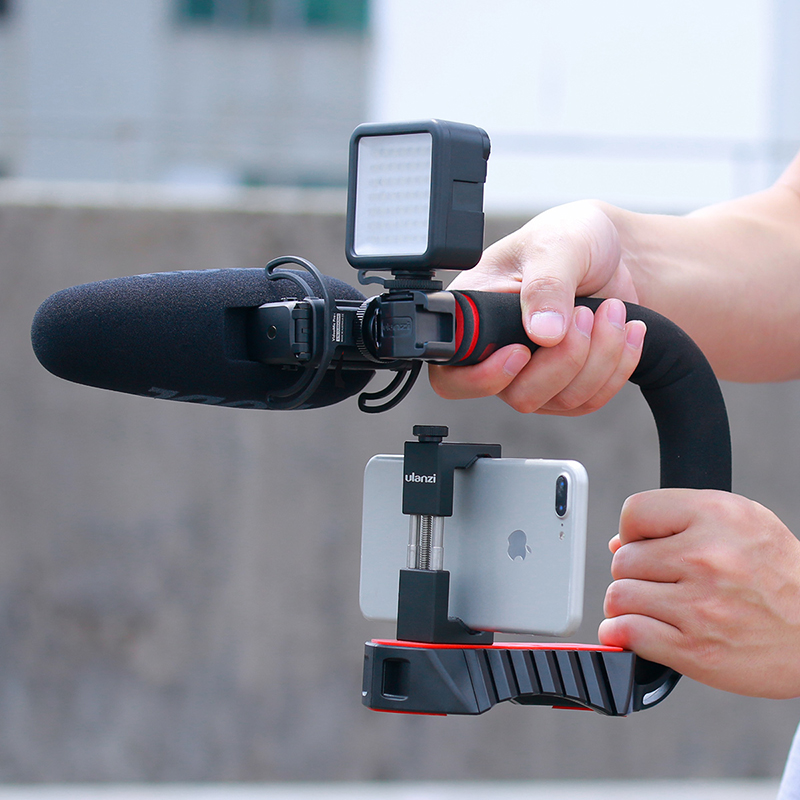 Camera Video Stabilizer Handle Video Grip Camera Video Light Triple Shoe Mount for Gopro for DSLR Sony Nikon Canon for iPhone Set1