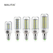 1Pcs New updated 7W 12W 15W 18W 20W 25W E14 LED lamp SMD 5730 220V Chandelier Bulb Spotlight 24 36 48 56 69 72 LEDs Candle light(China)