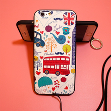 3D Relief Protective Shell For Apple iPhone 6s 6 7 Plus Back Case Cover Capa with Lanyard Wildflower London Bus Deer Phone Coque