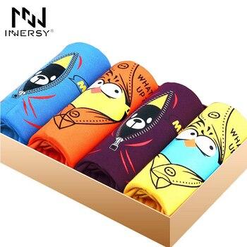 Innersy 2016 calcinhas dos homens 4 pcs \ lote mens underwear boxers boxer modal homens impresso boxer shorts dos pugilistas dos homens dos desenhos animados underwear lote
