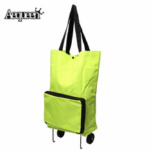 AEQUEEN Foldable Supermarket Shopping Trolley Wheel Light Weight Large Capacity Eco-friendly Folding Bag Traval Cart Luggage(China)