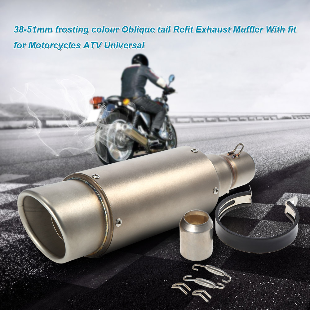 New 51mm Motorcycle ATV Frosting Stainless Steel Exhaust Pipe Muffler USA