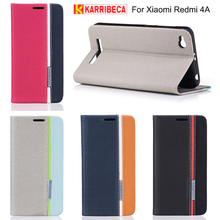 Karribeca flip wallet leather case For xiaomi redmi 4A colorful tone phone cover redmi 4A funda coque capas etui kryt puzdra tok(China)