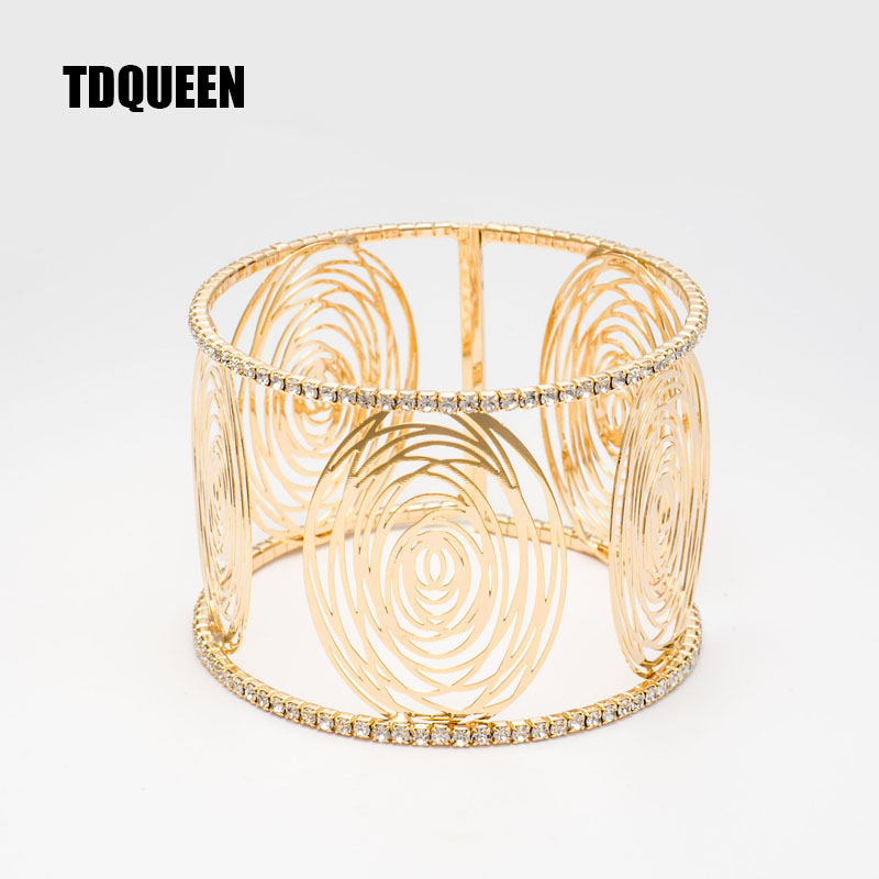 Fashion Wide Cuff Bracelets for Women Gold Color Metal Sparkly Crystal Rhinestone Round Flower Open Bangle Bracelet (2)