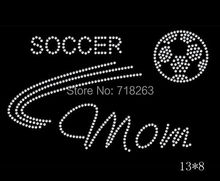High grade  free shipping   soccer mom ball image  design hotfix rhinestone image for cloth for USA market