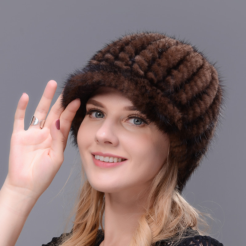 Real Fur Cap Knitted Natural Mink Fur Cap For Women Winter Avoid Wind And Snow Good Quality Female Mink Peaked Cap Ear Warm
