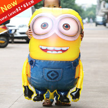 92*65cm Big Size Minions happy birthday balloon decoration cartoon child party balloons(China)