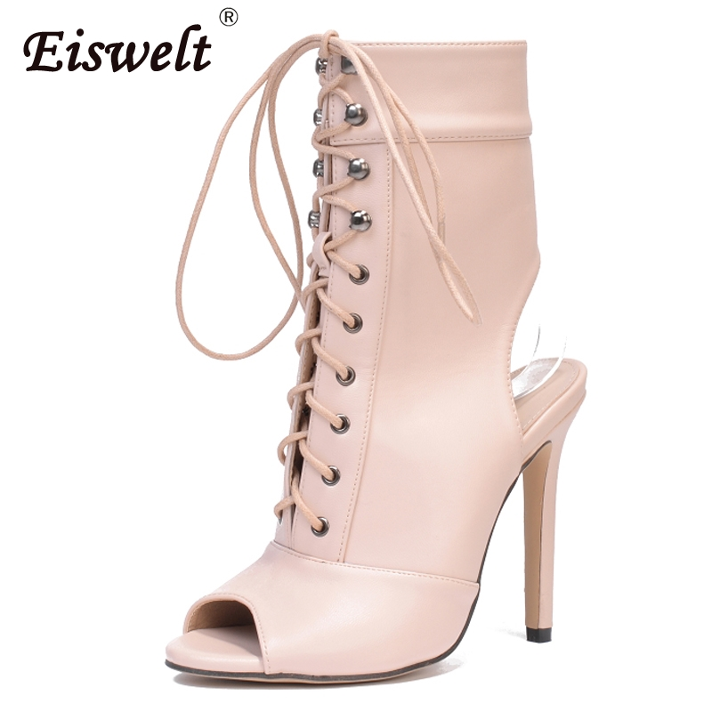 EISWELT Ankle Women Boots Women High Heel Shoes Pointed Toe Silk Design Boots Thin Heel Lace Up Sexy Ladies Shoes <br>