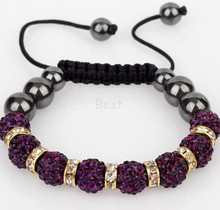 Min.$15 Mixed Order+Free Shipping+Gift.Purple 10mm SD micro pave cz Disco ball Beads Spacer Crystal Shamballa Bracelet  Jewelry.