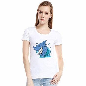 2017 Fashion Summer T Shirt Women Women Tops Short Round Neck Clothing Print Shark Plus Size Lady Tops
