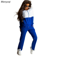 Spring Autumn Women Tracksuit Long Sleeve Stitching Hoodies Sweatshirts Casual Sporting Suits Women Clothing Tops+Pants