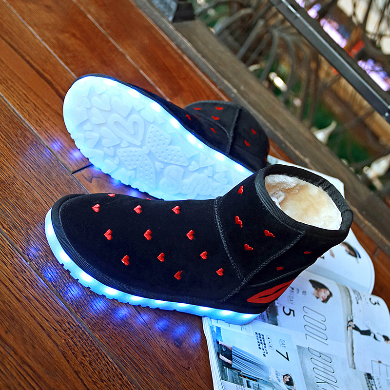 Women Snow Boots Winter LED Light Ankle Boots 2017 Woman High Top USB Charge Fashion Shoes<br>