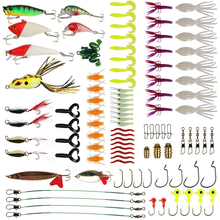Goture Fishing Lures Set Including Soft Hard Fishing Lures Topwater Baits Minnow Popper Jig Heads Swivels 96pcs(China)