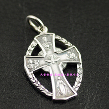 Catholic religious themes in 925 Sterling Silver Cross imported Silver Pendant