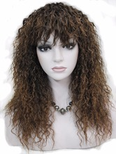 Strong Beauty Synthetic Long Curly Women Wigs Black and Brown Full Capless Wig