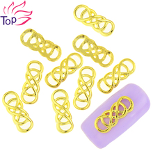 10Pcs/Lot Gold Silver 2 Color Twisted Rings Metal Chain Nail Art Decorations 3D Diy Alloy Studs Supplies For Nails TN1763 TN1764