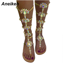 Aneikeh Knee High Buckle Strap Flats Sandal Boots Gladiator Summer Rhinestone Woman Boots Shoes Bohemia Style Crystal Beach Shoe(China)