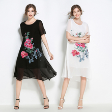 6254 make # 2017 summer wear new chiffon natural embroidered dress code in easing a word  long summer